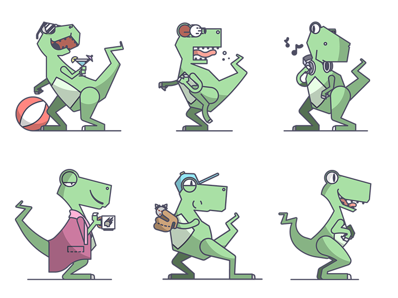 Dinosaur stickers by chris fernandez dribbble