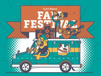 Fall Festival Food Truckin' philly banner guitar art fall invitation hamburger band music food truck line art illustration