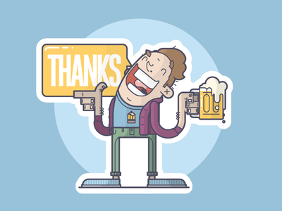 Thank You Stickers! smile thanks happy cheers pint beer sticker thank you line art illustration