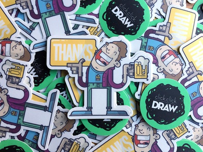 Thanks Stickers Printed! smile thanks happy cheers pint beer sticker thank you line art illustration