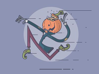 I'm Here for your Head! run creep blazer seeds pumpkin sleepy hollow horseman headless halloween line art illustration