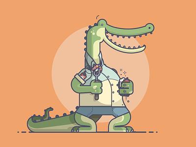 That Bayou Life cigs smokes teeth smile bayou shrimp beer alligator crocodile line art illustration
