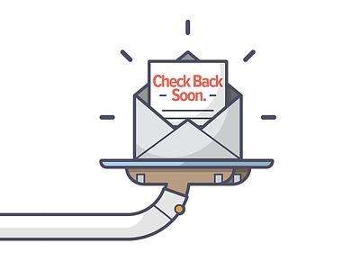 Check Back Soon! restaurant server bill check waiter line art illustration