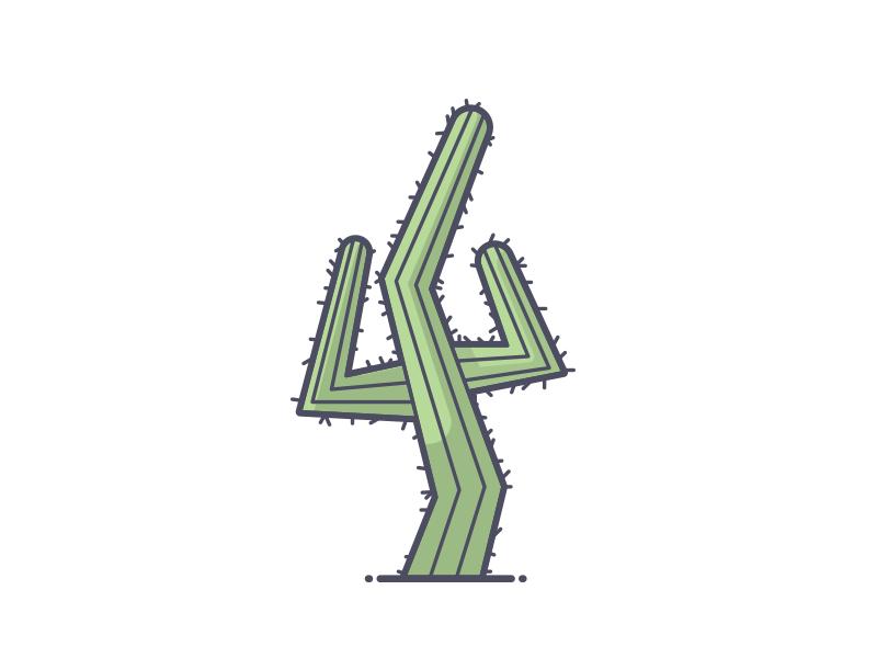 Feelin' Prickly hands up prickly cactus line art illustration