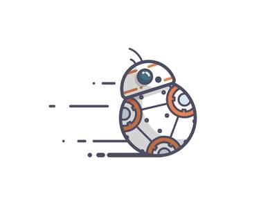 BB-8 roll speed droid bb8 force awakens star wars line art illustration