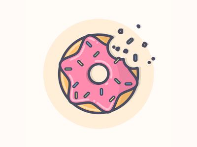 Donuts! icon simple delicious yum simpsons sprinkles frosting donut line art illustration
