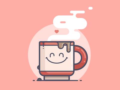 Coffee Love drip caffeine coffee cup steam happy heart love coffee line art illustration