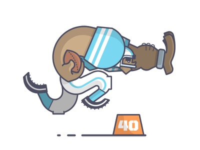 Get outta the way! stiff arm running back super bowl panthers carolina broncos nfl football line art illustration