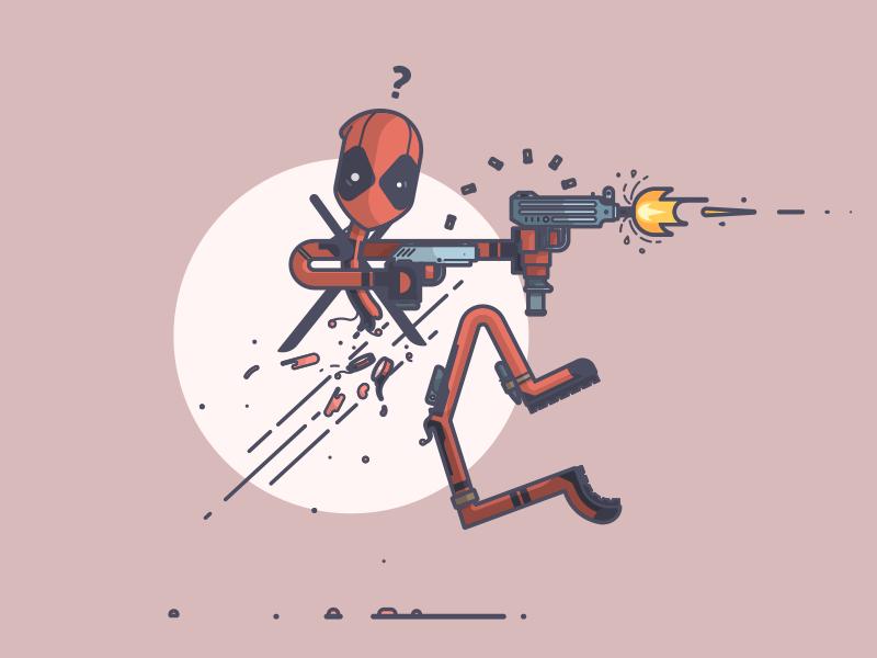 Deadpool...s? ouch bullets guns chimichanga deadpool marvel comics line art illustration