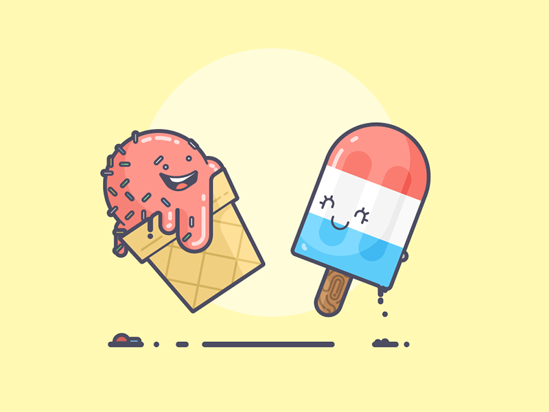 Ice Cream melting happy sprinkles bomb pop popsicle summer ice cream line art illustration