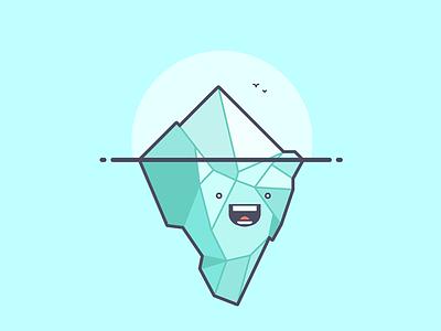 Iceberg! cool birds happy ice cold iceberg line art illustration