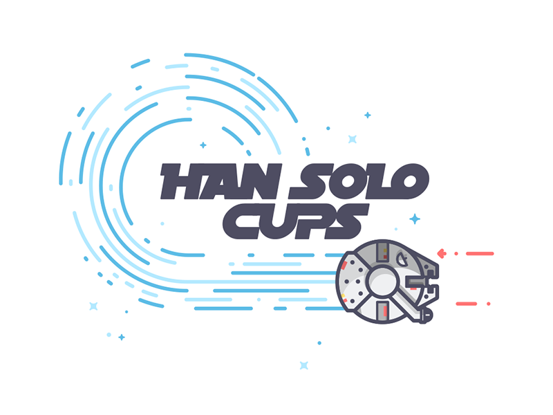 The Han Solo Cups star wars millennium falcon beer pong han solo line art illustration
