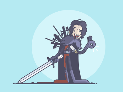 Jon Snow is totally OK... right? ouch zombie blood sword jon snow game of thrones line art illustration