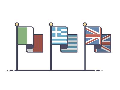 A European Holiday greece london united kingdom italy holiday europe flags line art illustration