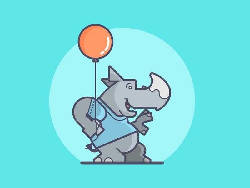 Happiness is... colorful happy balloon rhino line art illustration