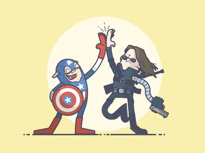 Civil War! happy high five winter soldier captain america comics marvel line art illustration