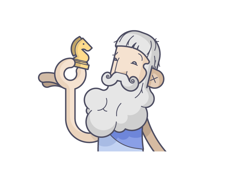 Plato! avatar beard knight chess messenger plato line art illustration