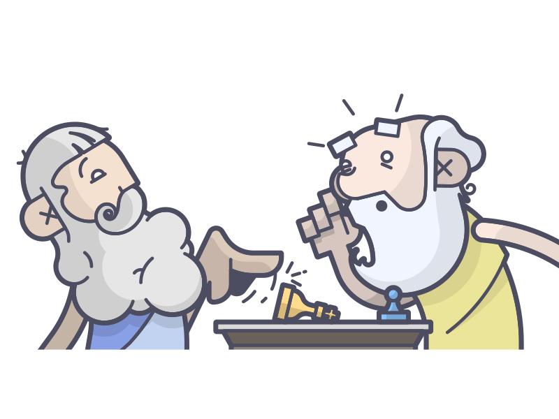 Checkmate! play beard pawn king chess messenger socrates plato line art illustration