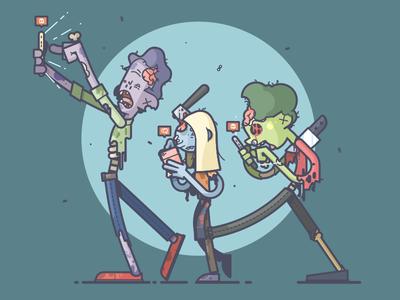 Social Zombies decay skull follower like iphone phone zombie line art illustration
