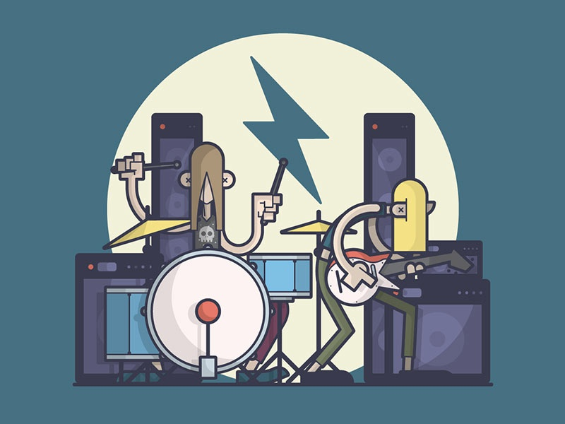 Shredding! lightning loud metal electric guitar drums rock band music line art illustration