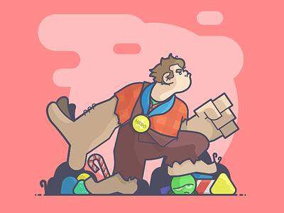 I'm Gonna Wreck It! hero medal candycane sour sugar candy wreck ralph wreck it ralph line art illustration
