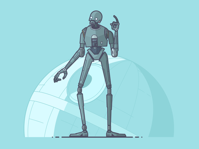 K-2SO k2so snark death star droid rogue one star wars line art illustration