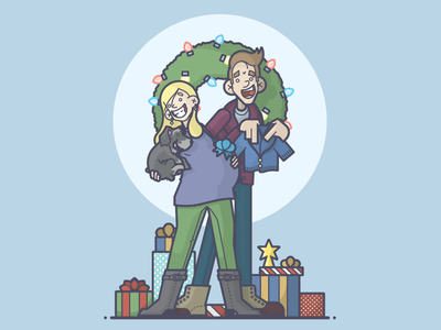 The More The Merrier happy cardigan star wreath gifts family baby card dog christmas line art illustration