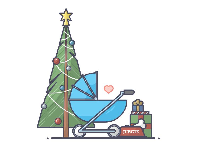 Christmas Card Accents presents bone stroller bauble star tree dog christmas line art illustration