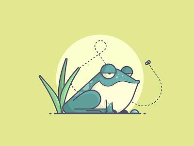 Swamp Chillin' chill fly buzz swamp frog line art illustration