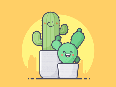 Couple o' Cacti couple smile happy thorns prickly vacation cactus line art illustration