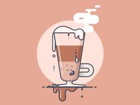 Caffe Macchiato! yum steam happy drip caffeine macchiato coffee line art illustration