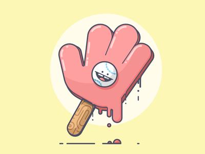 Bubble Play sun spring summer melting glove popsicle baseball line art illustration