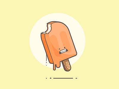 Creamsicle ouch melt bite vanilla orange creamsicle popsicle line art illustration