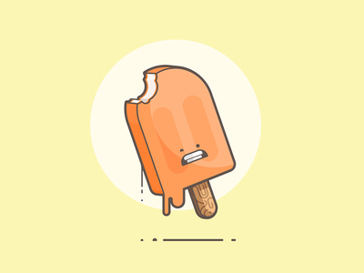 Creamsicle ouch melt bite vanilla orange creamsicle popsicle line art illustration