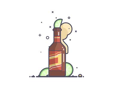¡Happy Cinco De Mayo! alcohol drink mexico lime bottle beer line art illustration