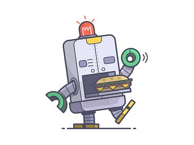 Nom Nom Nom! nom nom lunch sandwich hoagie robot line art illustration