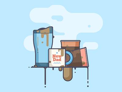 The Essentials. parents travel mug spill dad coffee line art illustration