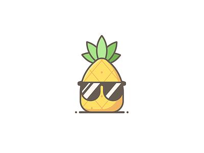 So long Summer. summertime sunglasses dude pineapple summer line art illustration