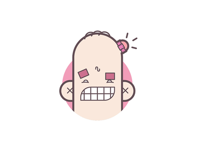 Ouch! grimace bump icon ouch headache line art illustration