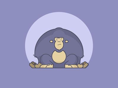 Simple Gorilla chilling confused animal gorilla line art illustration