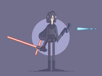 Emo Ren. blaster kylo ren lightsaber jefi sith the last jedi star wars line art illustration