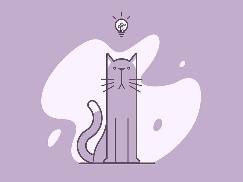 Purr-eka! meow idea cat line art illustration