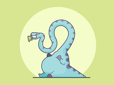 Chomp Chomp... belly brontosaurus lazy flat dinosaur line art illustration