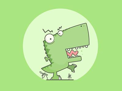 Struttin' yell stomp angry t-rex tyrannosaurus flat dinosaur line art illustration