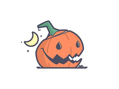 Halloween-y icon jack o lantern halloween pumpkin smile happy line art illustration