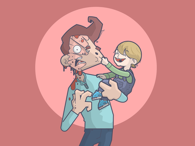 Fatherhood. torture skull baby son father smile happy cartoon line art illustration