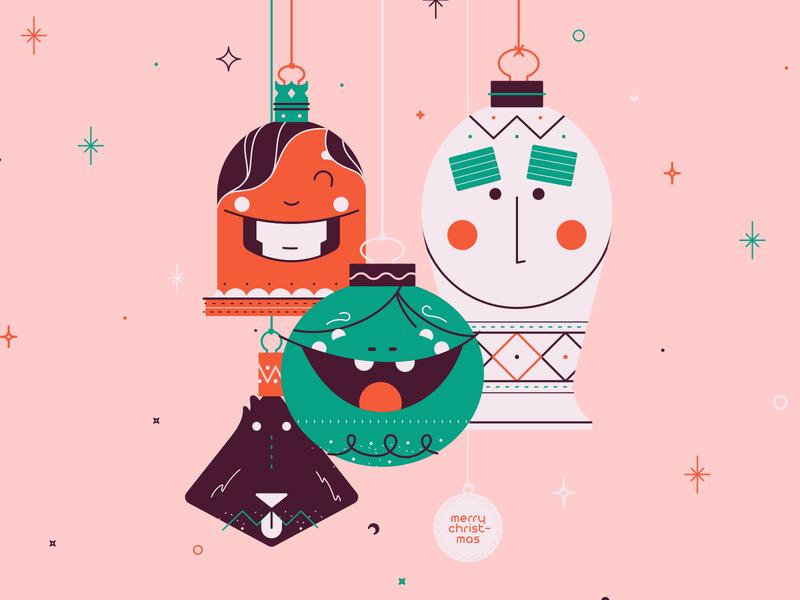 Happy Holidays! happy holiday dog christmas card ornament christmas smile happy line art illustration