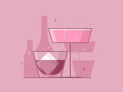 Happy New Year! celebration ice whiskey champagne new year drinks line art illustration