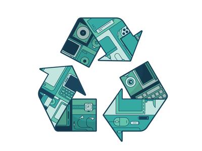 Recycling Tech technology recycle monochromatic line art illustration