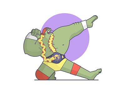 Hulkamania! slaptastick mashup wrestling hulkamania hulk hogan hulk cartoon line art illustration